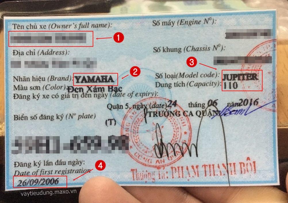 Giấy đăng ký xe máy - vay theo xe